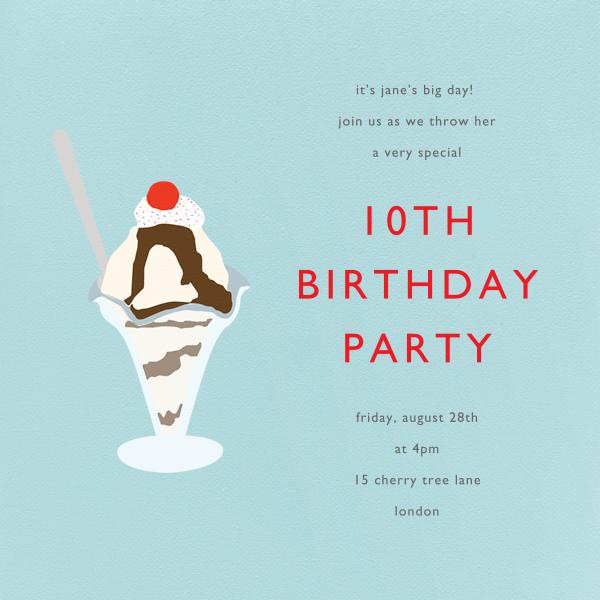 Ice Cream Sundae - Light Blue - Paperless Post - Kids' birthday