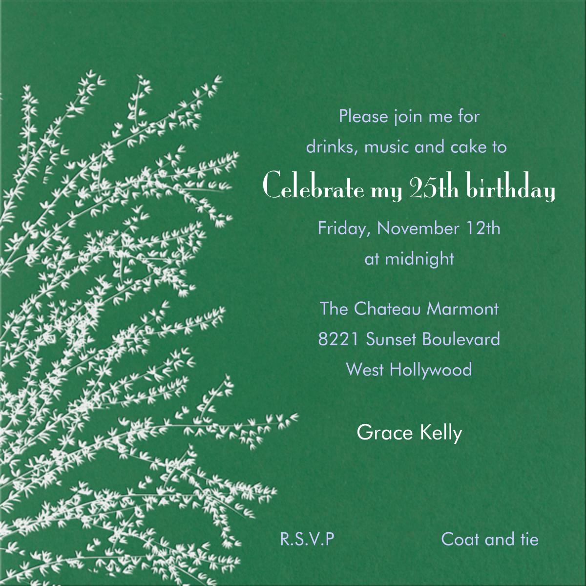 Forsythia - Moss - Paperless Post - Adult birthday