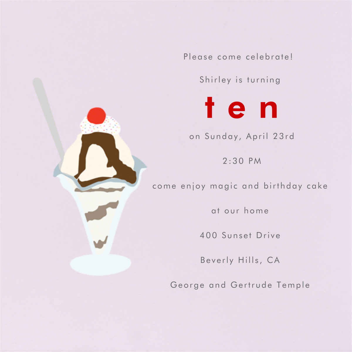 Ice Cream Sundae (Sweet Pea) - Paperless Post - Kids' birthday