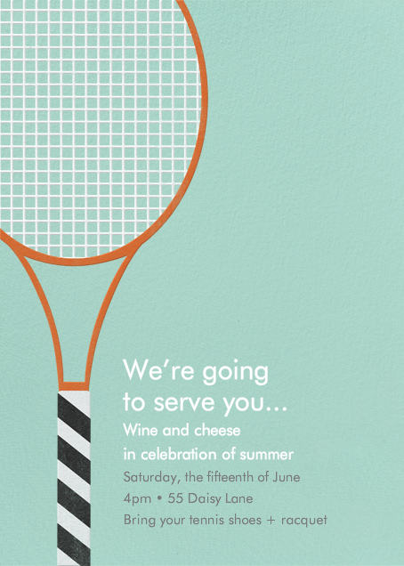 Tennis Racquet - Paperless Post - Summer entertaining