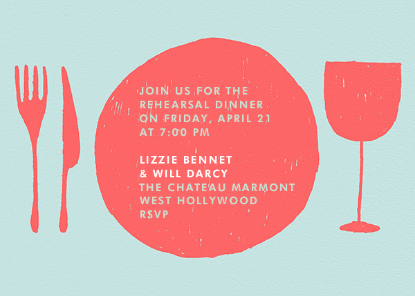 Place Setting - Coral and Celadon - Paperless Post