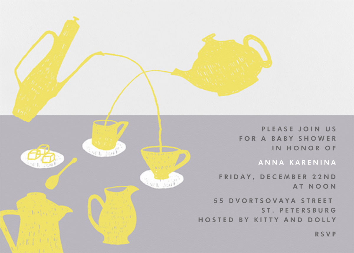 Pour Me A Cup - (Chartreuse And Gray) - Paperless Post - Baby shower