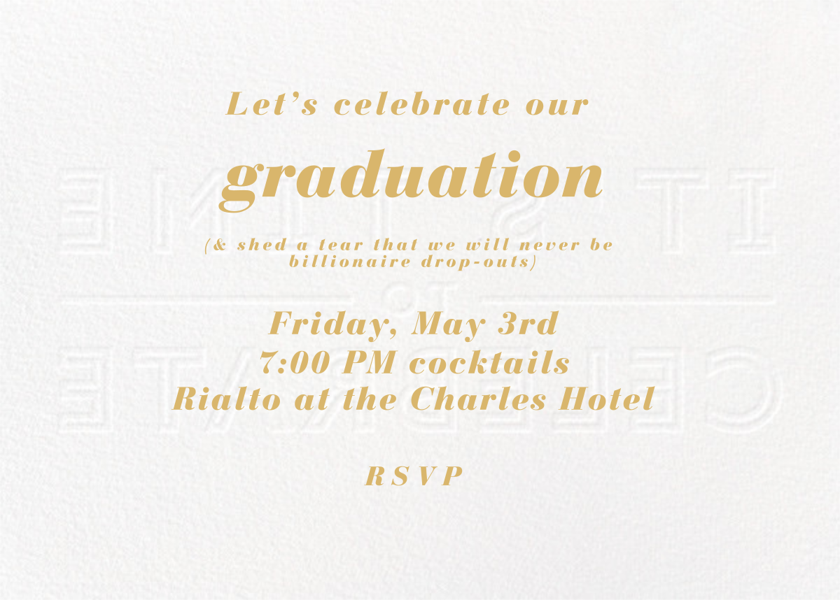 It's Time To Celebrate - Apricot - Paperless Post - Graduation party - card back