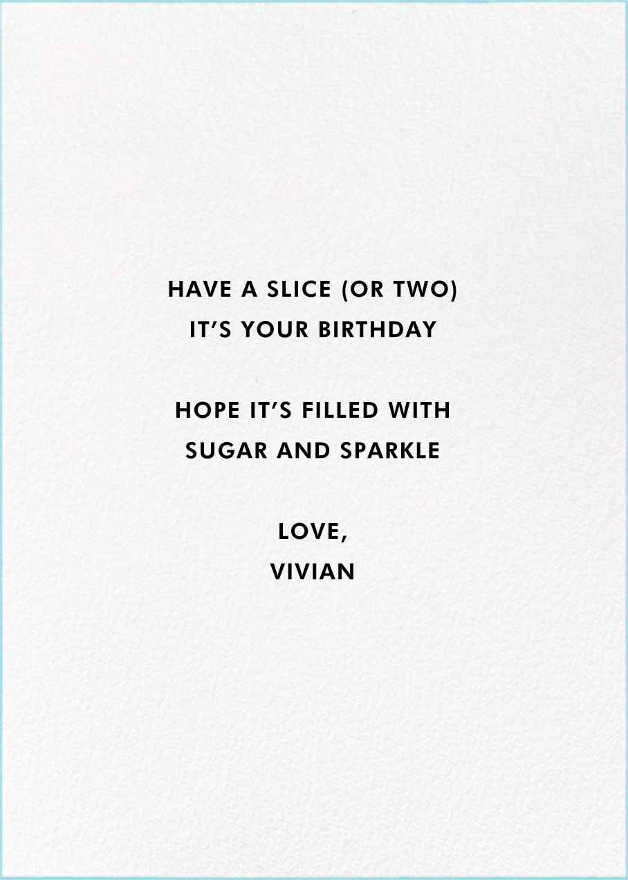 Eat Cake for Breakfast (Tall) - kate spade new york - Birthday - card back