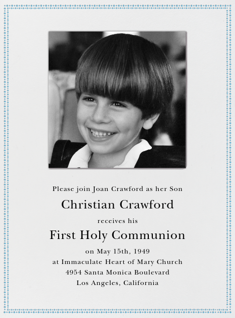 Uneven Dots (Ivory with Blue) - Paperless Post - First communion