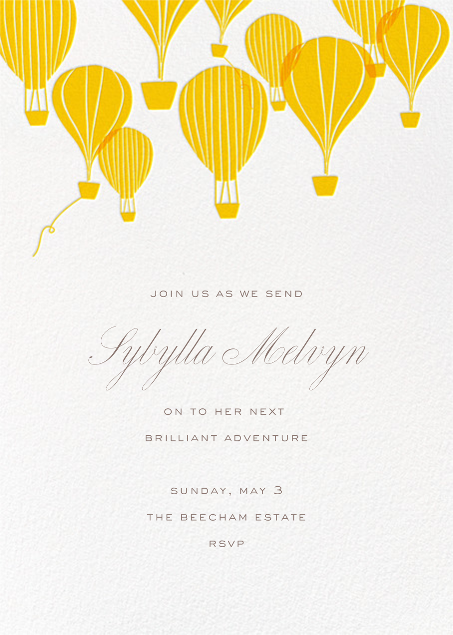 Hot Air Balloon Cluster - White/Mustard - Paperless Post - Retirement party