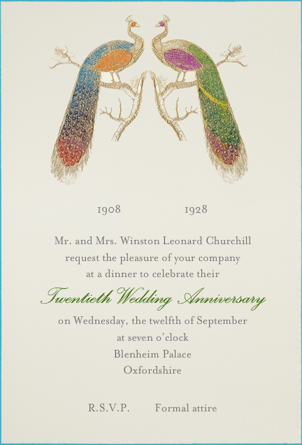 Hand Painted Peacock - Double Peacock - Bernard Maisner - Anniversary party
