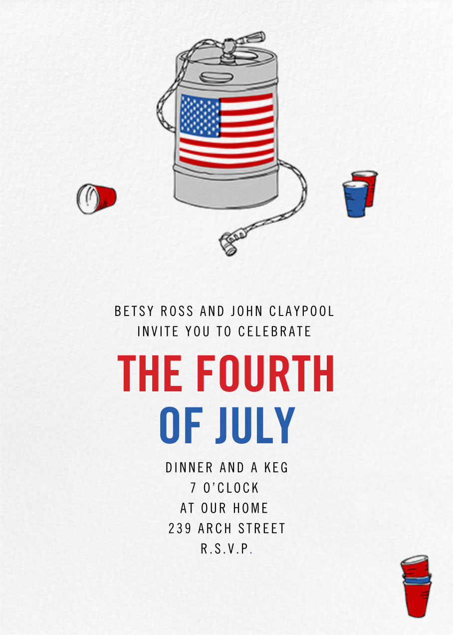 Keg with Flag - Paperless Post - 4th of July