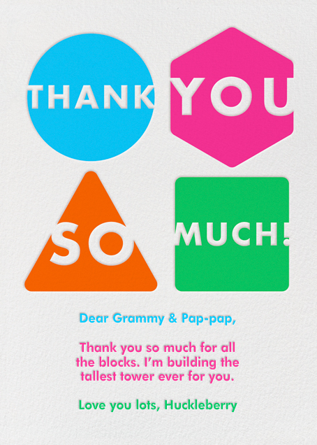 Shapes - Thank You So Much - Paperless Post - Alicia's Test