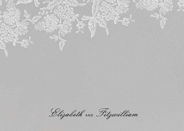 Hydrangea Lace I (Thank You) - Gray - Oscar de la Renta - Wedding stationery
