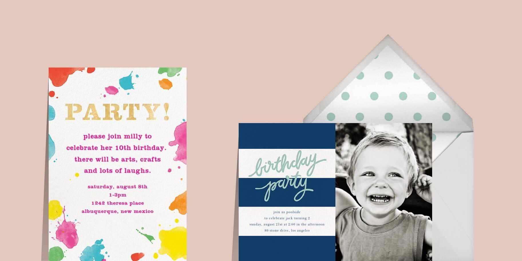 Kids' birthday invitations