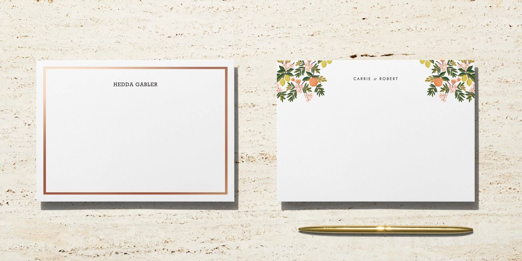 Printed personal stationery
